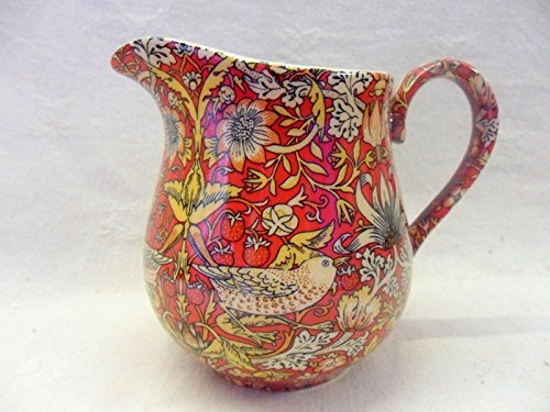 William Morris Red Strawberry Thief Bellied Cream Jug By Heron Cross Pottery.