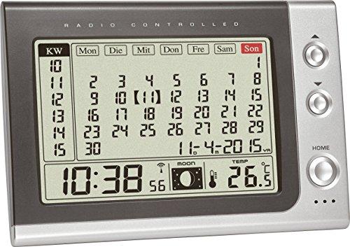 TFA Dostmann 60.2529.54 Funk Wecker mit Monatskalender, Anzeige der Innentemperatur/Mondphase, 18,2 x 6,1 x 15,8 cm, grau, Kunststoff