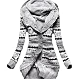 Minetom Femme Hiver Toison Tricoté Bouton Pulls Vêtements Cardigan Tunique Sweats à capuche Tricots Manteaux Gris FR 42...