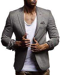 Leif Nelson Herren Sakko Blazer sportlich Slim Fit Modern Hemd T-Shirt Schwarz Blau Anthraztit LN4007 ; Größe L, Anthrazit