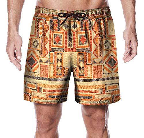 Ocean Plus Herren Schnell Trocknend Badeshorts Strandshorts Streetwear Shorts Badehosen Pfirsichhaut Samt Kurze Hose Swim Trunks (M (Taille: 78-98 cm), Altägyptischer Plaid) -