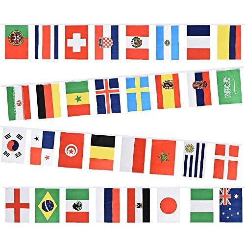 Blueqier world cup bunting–coppa del mondo di calcio 2018bandierine in tessuto con 32bandiere