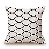 Elviros Geometrisch Dekorativ Baumwoll Leinen Mix Kissenbezug 45 x 45cm