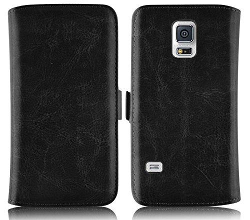 JAMMYLIZARD Für Samsung Galaxy S5Mini, Schutzhülle Galaxy S5Mini Schutzhülle Deluxe Lederoptik Range Karten Magnetverschluss, schwarz -