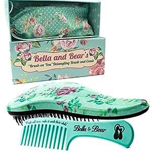 Lot de brosse à cheveux et peigne démêlants - Idéal pour cheveux mouillés ou secs - Plus de nœuds, plus de larmes-Bella & Bear