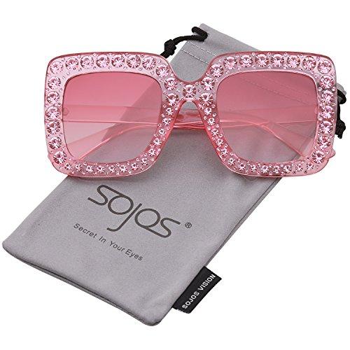 Sojos vogue occhiali da sole donna quadrari oversize cristalli scintillante sj2053 con rosa telaio/rosa lente