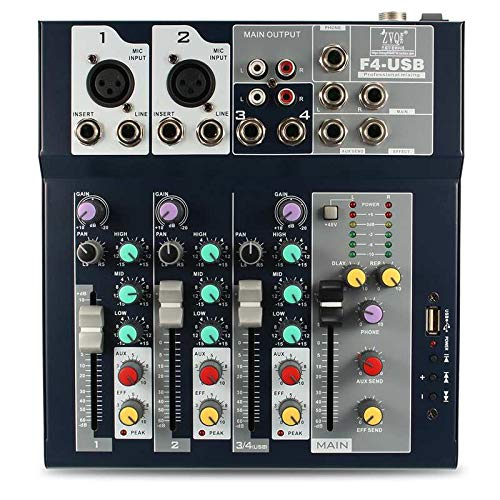LanLan 4 Kanal USB DJ Mixer Controller Karaoke Mixing mit eingebautem Verstärker Metal Mezclador Konsole für KTV - Usb-controller Mixer