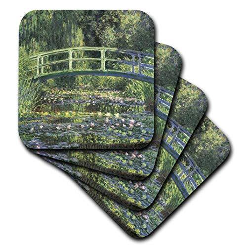 PS Vintage-Seerosen und japanische Brücke Monet Vintage-Untersetzer, keramik, set-of-4-Ceramic -