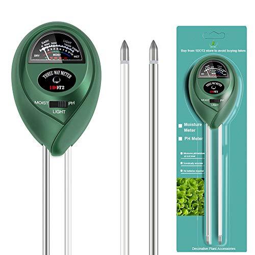 1DOT2 3-IN-1 Bodentester kein Akku Boden Feuchtigkeit Meter PH Wert Messgerät Lichtstärke Meter für Garten, Pflanzen Wachstum, Rasen, Indoor & Outdoor nutzbar