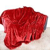 Rot Überwurf, Tagesdecke, weiches Plüsch, groß, 150 cm x 200 cm, passend für Double Size Bett oder 2er Sofa Schlafsofa Tischläufer, Tagesdecke, Kuscheldecke von Quality Linen and Towels