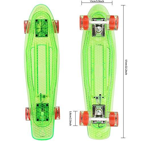 """Hikole Cruiser Kinder Skateboard Komplett Retro Mini Crystal Komplettboard, 22"""" 55CM Vintage Skate Board mit LED Leuchtrollen und Deck für Anfänger Jugendliche Kinder Jungen Mädchen Grün"""