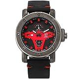 Shark Sport Herren Quarz Armbanduhr Leder 24 Stunden Tag Datum Anzeige Gebraucht SH454