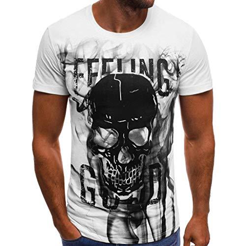Button-down-raglan-Ärmel (Xmiral Kurzarm Oberteile Herren Schädel Drucken Buchstabe Rundhalsausschnitt Tees Shirt Baumwolle Frühling und Sommer T-Shirt(XL,Weiß))