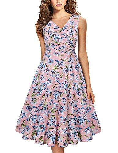 Mutterschaft Mit ärmeln Kleider (Lotusmile Ärmellos Kleid, Frauen Freizeit Floral Kleid Mit Falten V-Ausschnitt A-Form Weiche Wellen Midi-Kleid Freizeit Kleid Multicolor Pink,Größe L)