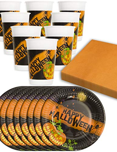 hometools. EU – Happy Halloween Party Juego de vajilla, 8 Vasos,