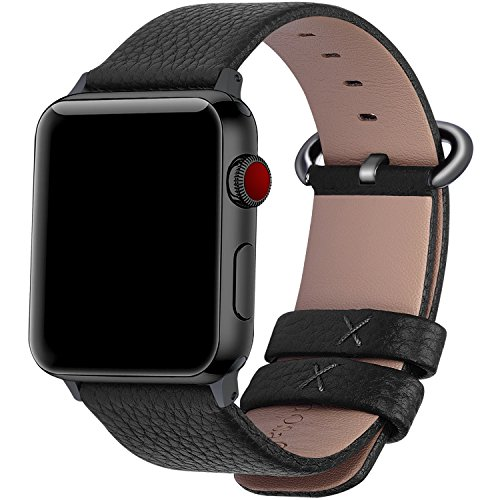 适用于Apple Watch 38mm / 40mm和42mm / 44mm的Fullmosa兼容表带,适用于Apple Watch的15颜色Yan皮革表带/替换表带,适用于iWatch系列4,3,2,1的表带,男女款,黑色+枪灰色搭扣