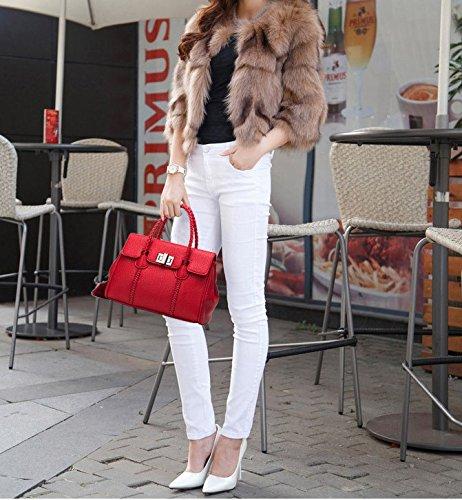 WTUS Damen Neue Art und Weise Handtasche Schultertasche Messenger Bag Einfache Shell-Tasche Handtasche Rot