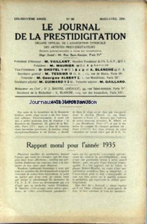 JOURNAL DE LA PRESTIDIGITATION [No 88] du 01/03/1936 - RAPPORT MORAL POUR L'ANNEE 35. par Collectif
