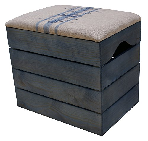 LIZA BAÚL de MADERA (Color Azul Petróleo), Banco de Almacenamiento, Puff, Taburete Vintage con Asiento Confortable Recubierto de Tela. Mueble para Almacenaje de Zapatos, Juguetes. Pino Nórdico Macizo - 50 x 45 x 36 cm (Lineas Azules)