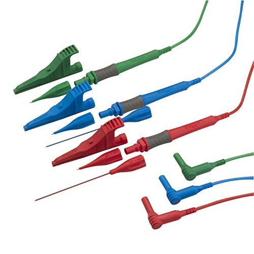 MEGGER Standard test leads (Red/Blue/Green) with prods and clips (NEW) right angle plugs Test