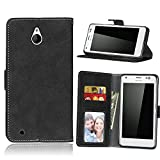 Nokia Lumia 850 Case Leather, Ecoway Retro Scrub PU Leather Stand Function Protective Cases Covers with Card Slot Holder Wallet Book Design for Nokia Lumia 850 - black