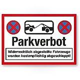 Parkverbot Kunststoff Schild (30 x 20cm), Hinweisschild aus Kunststoff Privatparkplatz - Verbotsschild, Parken verboten Kunststoff Schild - Parkplatz freihalten, kostenpflichtig abgeschleppt