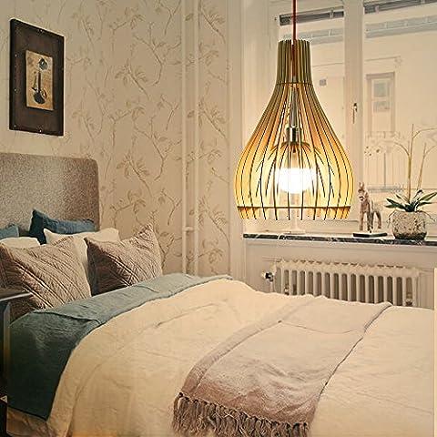 HROOME Vintage Modern DIY Hölzern Rustikal Hängende Lampen Holz Pendelleuchten Kuppel Kronleuchter Deckenlampe