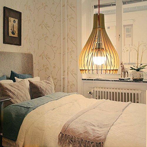Holz-kronleuchter (HROOME Vintage Modern DIY Hölzern Rustikal Hängende Lampen Holz Pendelleuchten Kuppel Kronleuchter Deckenlampe Lampenschirm)