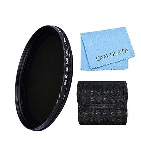 Filtre ND, CAM-ULATA 58mm ND Fader Variable Densité neutre Filtre ND réglable ND2 à ND400 pour Canon 600D EOS M M2 700D 100D 1100D 1200D 650D DSLR Caméra et Filtre Tissu de Nettoyage de Lentilles et de Microfibres