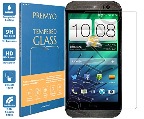 PREMYO Panzerglas Schutzglas Bildschirmschutzfolie Folie kompatibel für HTC One M8 Blasenfrei HD-Klar 9H 2,5D Gegen Kratzer Fingerabdrücke