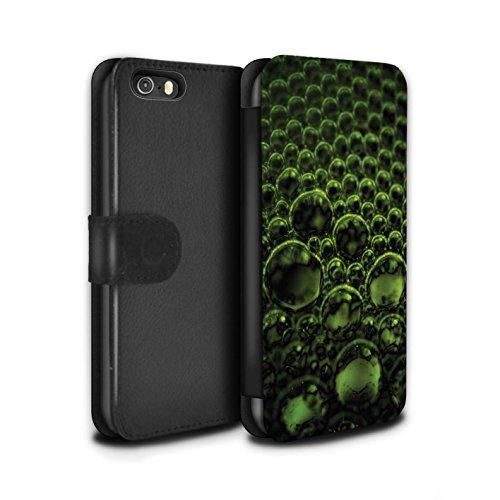 Stuff4 Coque/Etui/Housse Cuir PU Case/Cover pour Apple iPhone SE / Jaune Design / Bulles/Gouttelettes Collection Vert