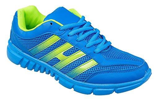 Gibra ® homme très légère et confortable-bleu/jaune fluo-taille 41–46 Bleu - blau/neongrün