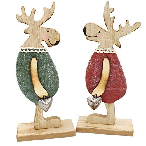 2er Set süße Elch-Figuren ~ aus Holz mit Stoff und Metall-Herz ~ 29cm hoch