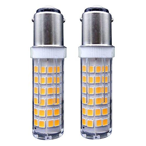 B15 bombilla LED [2 unidades] SFTlite AC 220–240V BA15D 5W Bombilla LED 75 x SMD LED – Blanco Cálido 3000K 360 ° ángulo de haz de 500 lúmenes – lámpara halógena de 45 W Equivalente - LED maíz luz para máquina de coser/aparato lámparas [clase energética A +]