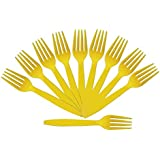 PrettyurParty Yellow Plastic Forks (Pack Of 10)