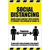 Social distancing zone sign KEEP SAFE STAND 2M APART 300mm x 100mm Self adhesive sticker to fight the spread of viruses