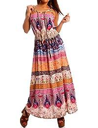 Damen Hippie Maxikleid Bohemian Patchwork Träger Kleid