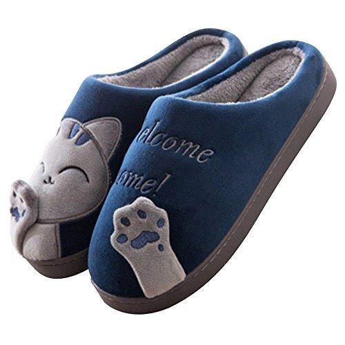 Minetom Primavera Inverno Caldo Coppie Uomo Donna Pantofole Morbido Peluche Gatto Pantofole Comode e Calde Pantofole Scarpe Slip-On da Casa Slippers A Blu