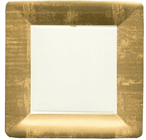 Caspari Entertaining Square Dinner Plates, Gold Leaf/Ivory, 8-Pack Ivory Square Dinner Plate