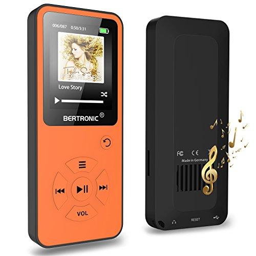 BERTRONIC Made in Germany BC10 Royal MP3-Player mit Kopfhörer, 16 GB ★ Bis 100 Stunden Wiedergabe ★ Radio | Portabler Player mit Lautsprecher | Audio-Player für Sport mit Micro SD-Karte & Silikonhülle