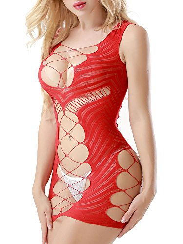 FasiCat Fashion Design Lingerie Baby Dolls Chemises Negligees for Women Chemise Hot Mini Dress red