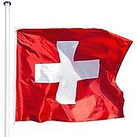 TecTake Mástil para bandera 6,25 m con bandera y cuerda palo asta aluminio -