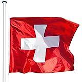 TecTake Aluminium Fahnenmast 6,25 m mit Fahne + Bodenhülse + Seilzug - diverse Modelle - (Schweiz | Nr. 402856)
