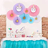 Party Propz Unicorn Party Hanging Paper Fans Decoration Set Of 8 For Unicorn Theme Birthday Decoration