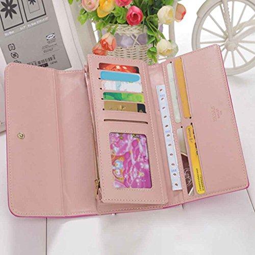 Miaomiao Lattice Grids modello PU borsa portafoglio borsa borse donna borsa lunga Taro viola
