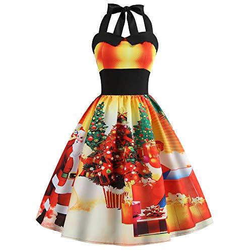 Femme Noël Vintage Élégant Mini Robe, Femmes Vintage 1950's Audrey Hepburn Pin-up Robe de Soirée Cocktail, Style Halter Années 50 à Pois Ba Zha Hei(Jaune,M)