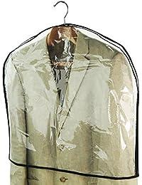 Hangerworld Lot de 10 Housses Couvre-épaules Transparentes Longues à Coutures Noires