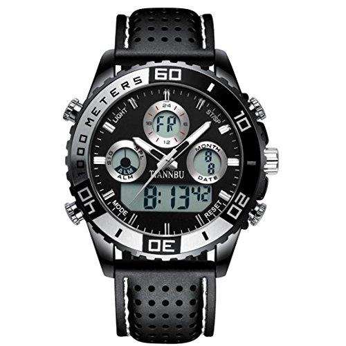 Preisvergleich Produktbild Sansee Tiannbu 2017 Fashion neue Herren Sport Schwarz Leder Datum Digitaluhr - Tiannbu Sport Uhr LR2409 (A)
