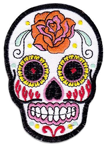 näher Aufbügler Patch Sugarskull Totenkopf Rockabilly Greaser Latino Bügelbild ()