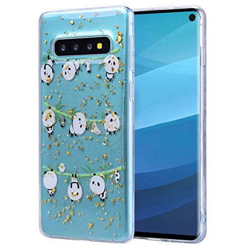 Misstars Glitzer Hülle für Galaxy S10 Plus, Bling Pailletten Transparent Weich TPU Silikon mit Panda Bambus Malerei Muster Anti-Rutsch Kratzfeste Schutzhülle für Samsung Galaxy S10 Plus -